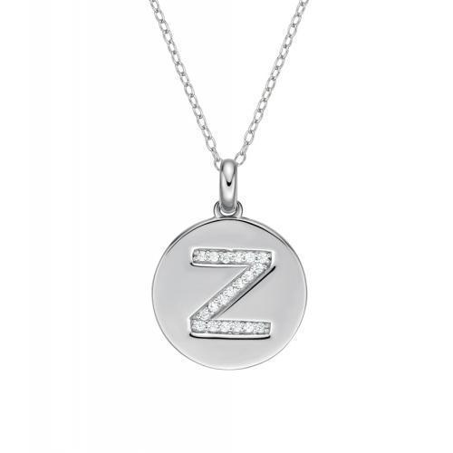 Disc Initial Pendant - Z in Sterling Silver