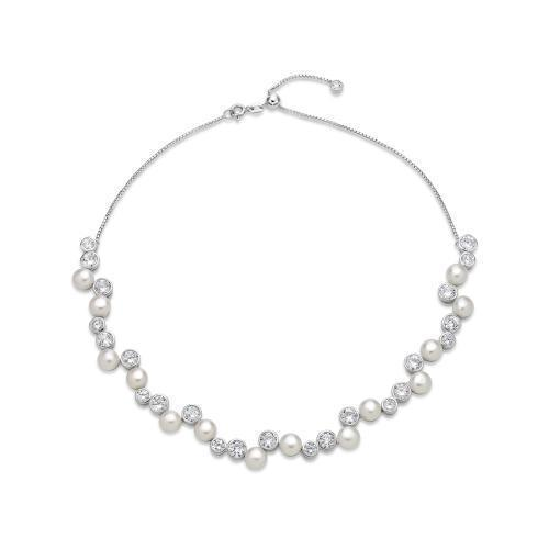 Contemporary Cultured Freshwater Pearl Necklace in Sterling Silver