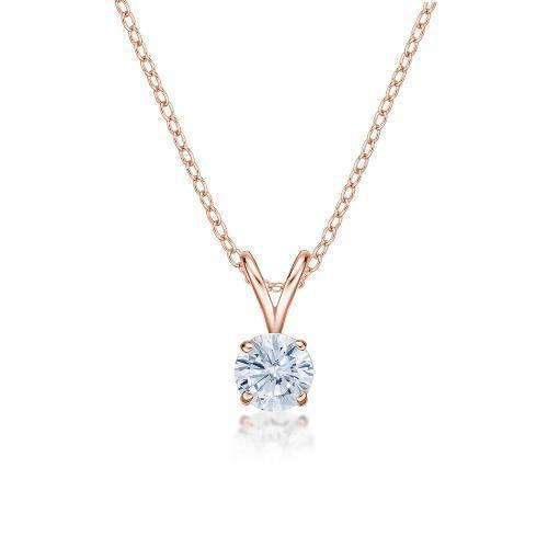 Round Brilliant 4 Claw Solitaire Pendant in Rose Gold
