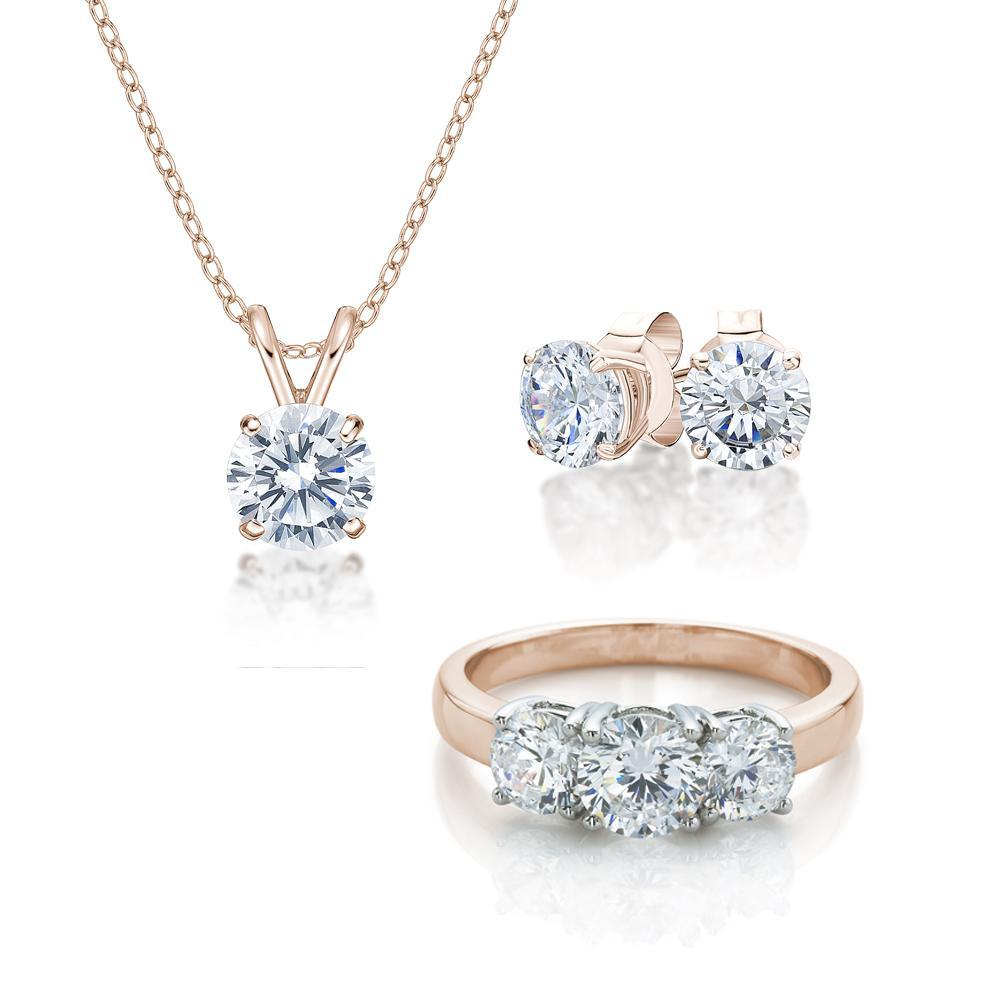Three Stone Gift Set in Rose Gold