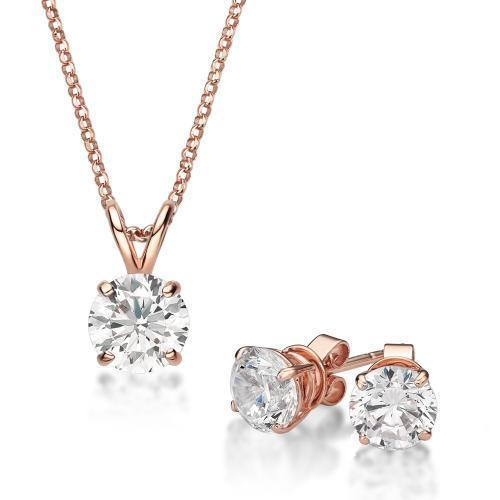 Round Brilliant 4 Claw Solitaire Gift Set in Rose Gold