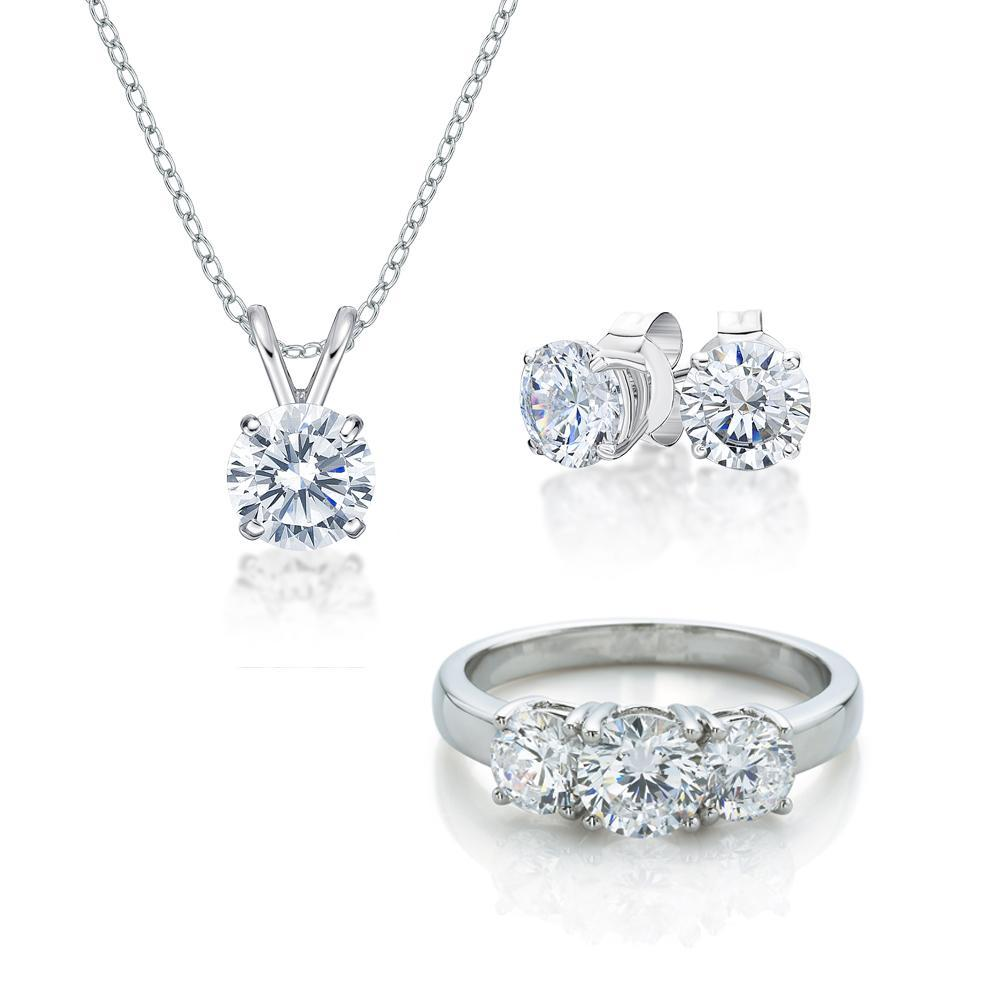 Three Stone Gift Set in White Gold