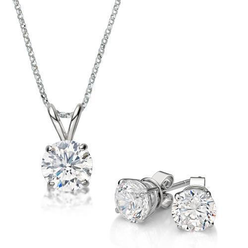 Round Brilliant 4 Claw Solitaire Gift Set in White Gold