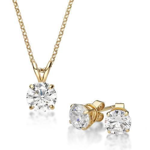 Round Brilliant 4 Claw Solitaire Gift Set in Yellow Gold