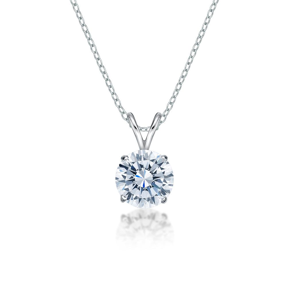 Round Brilliant 4 Claw Solitaire Pendant in White Gold
