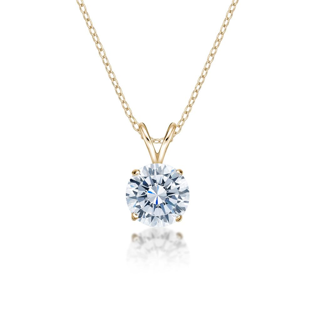 Round Brilliant 4 Claw Solitaire Pendant in Yellow Gold