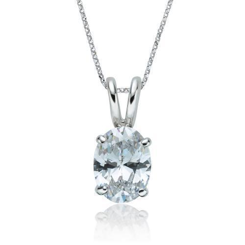 Oval Solitaire Pendant in White Gold