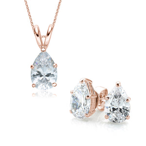 Pear Cut Solitaire Gift Set in Rose Gold