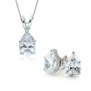 Pear Cut Solitaire Gift Set in White Gold