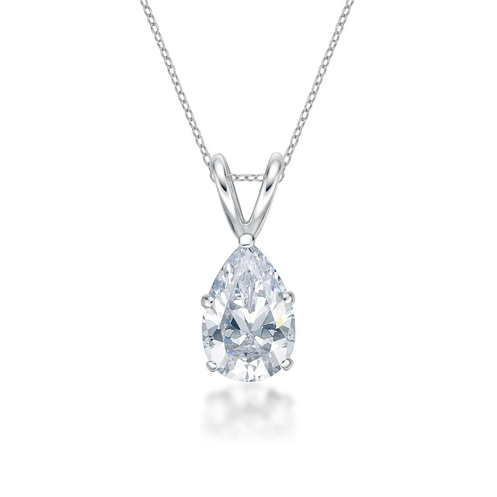 Pear Solitaire Pendant in White Gold