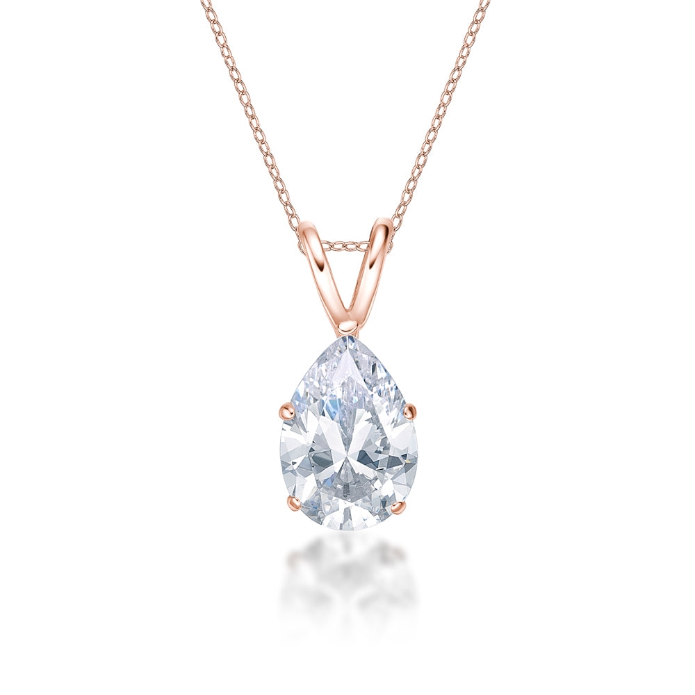 Pear Solitaire Pendant in Rose Gold