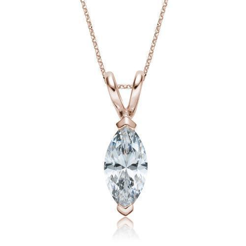 Marquise Solitaire Pendant in Rose Gold