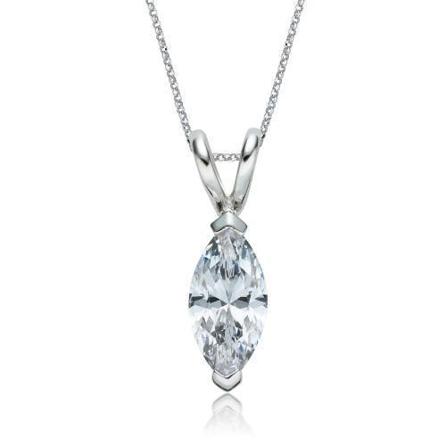Marquise Solitaire Pendant in White Gold