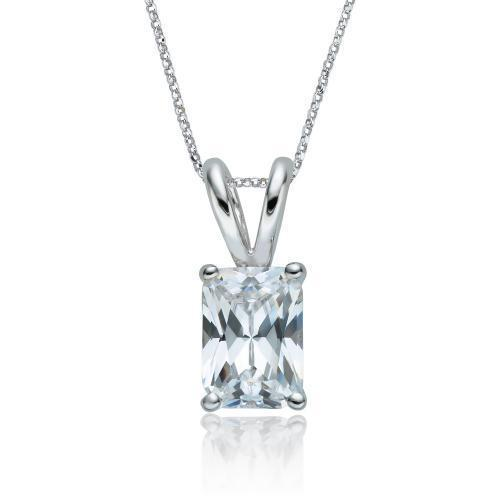 Radiant Solitaire Pendant in White Gold