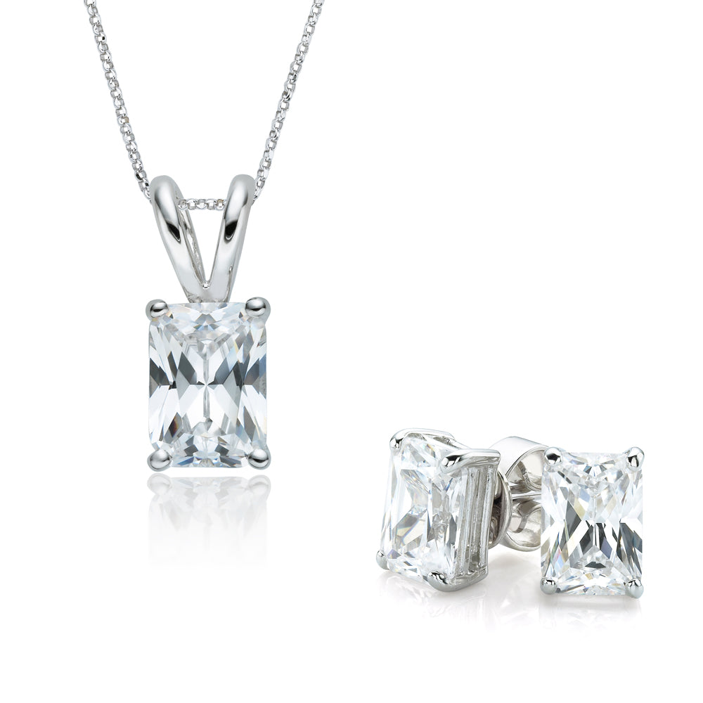 Radiant Cut Solitaire Gift Set in White Gold