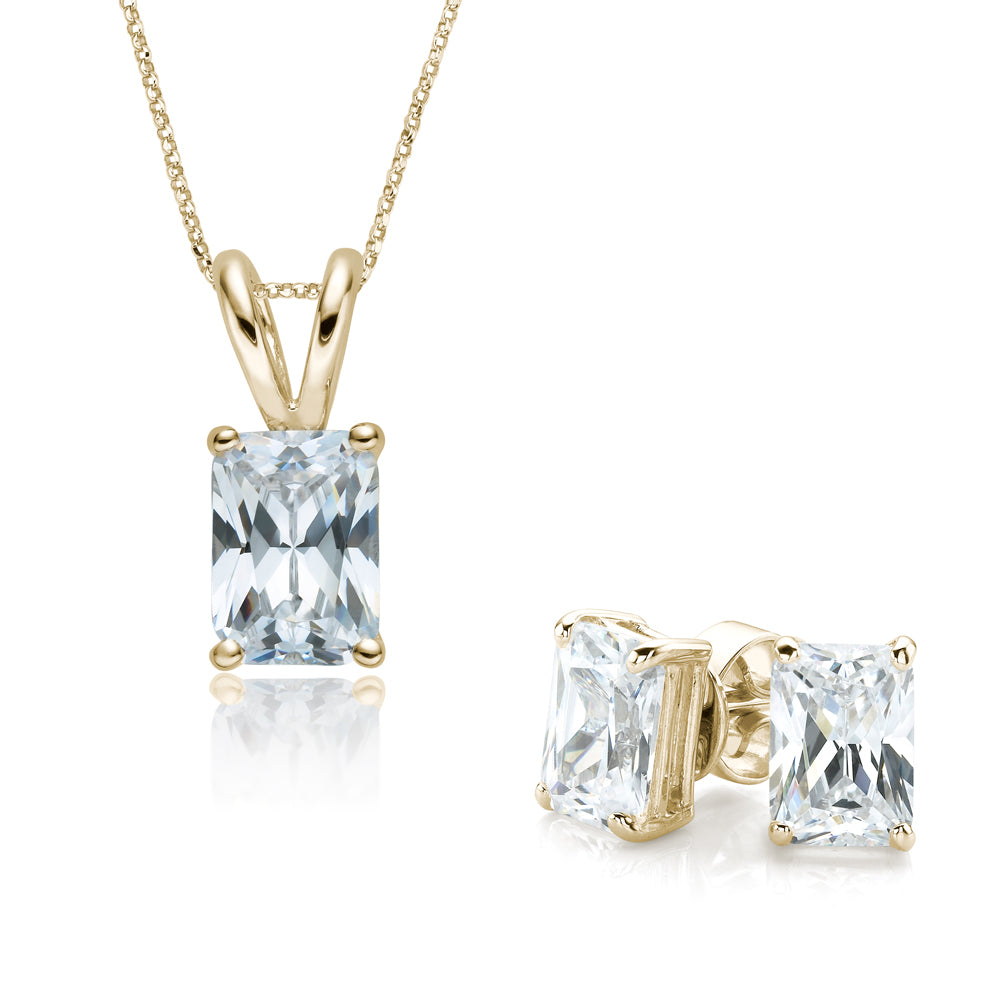 Radiant Cut Solitaire Gift Set in Yellow Gold