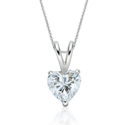 Heart Solitaire Pendant in White Gold