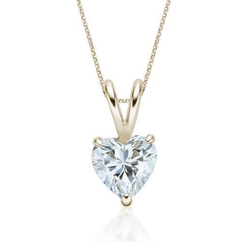Heart Solitaire Pendant in Yellow Gold
