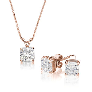 Princess Cut Solitaire Gift Set in Rose Gold