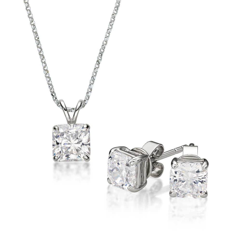 Princess Cut Solitaire Gift Set in White Gold
