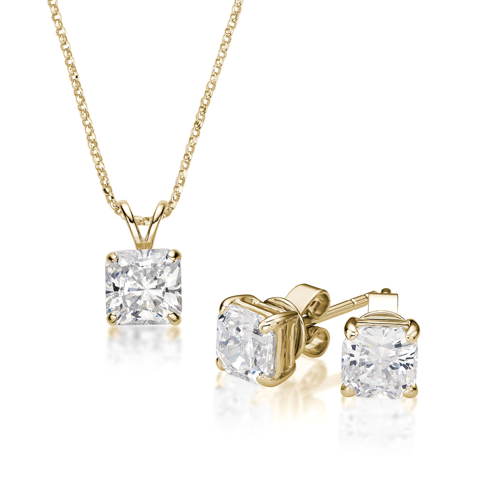 Princess Cut Solitaire Gift Set in Yellow Gold