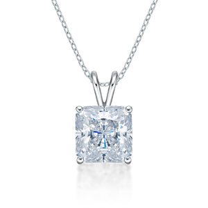 Princess Solitaire Pendant in White Gold