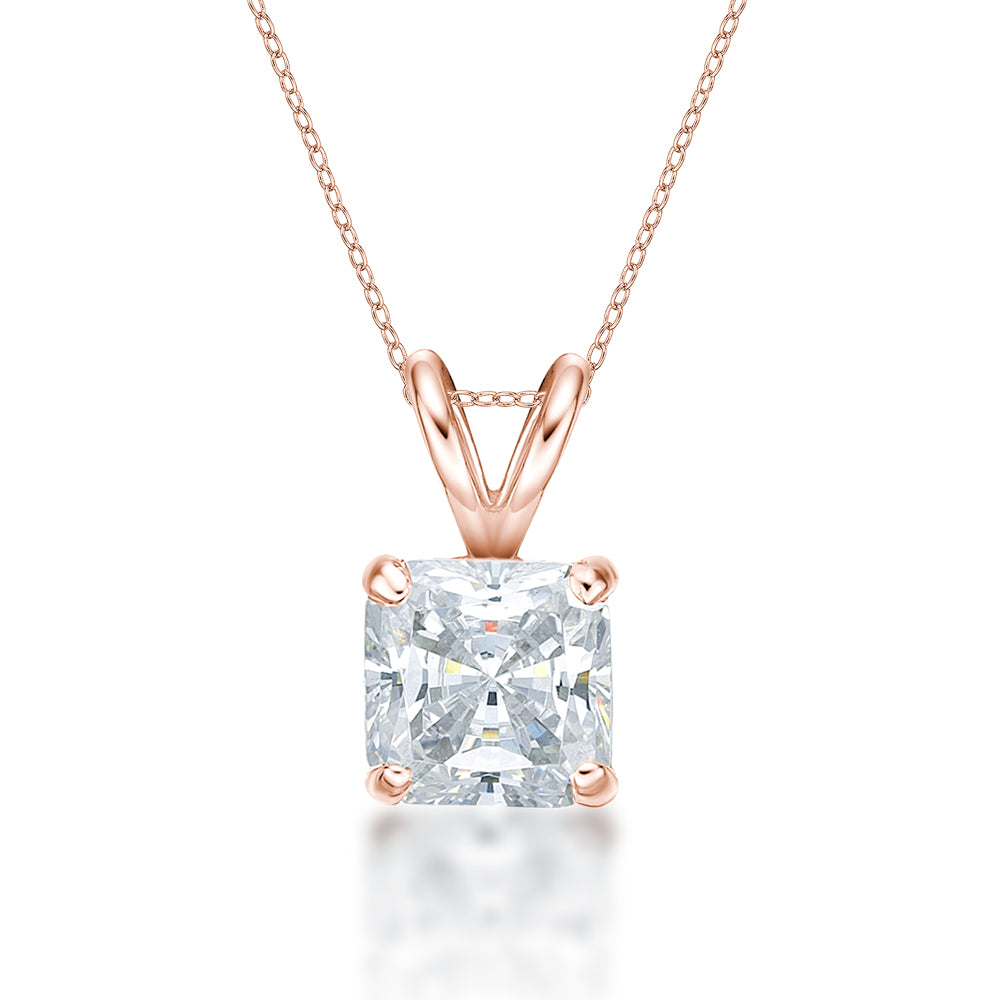 Princess Solitaire Pendant in Rose Gold