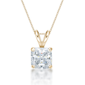 Princess Solitaire Pendant in Yellow Gold