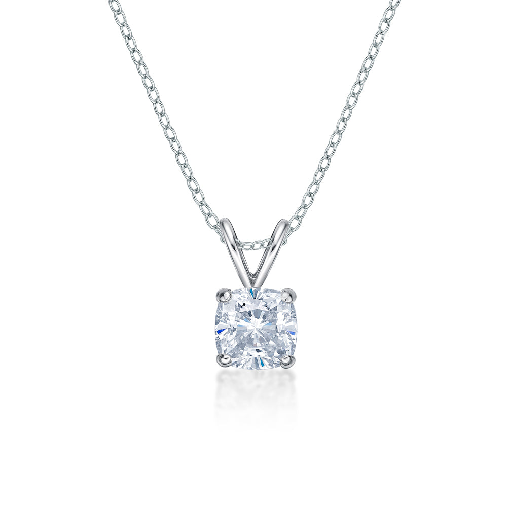 Cushion Solitaire Pendant in White Gold