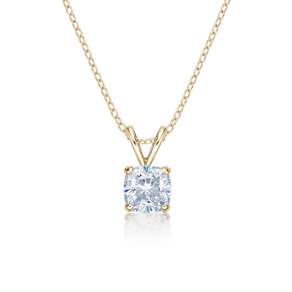 Cushion Solitaire Pendant in Yellow Gold