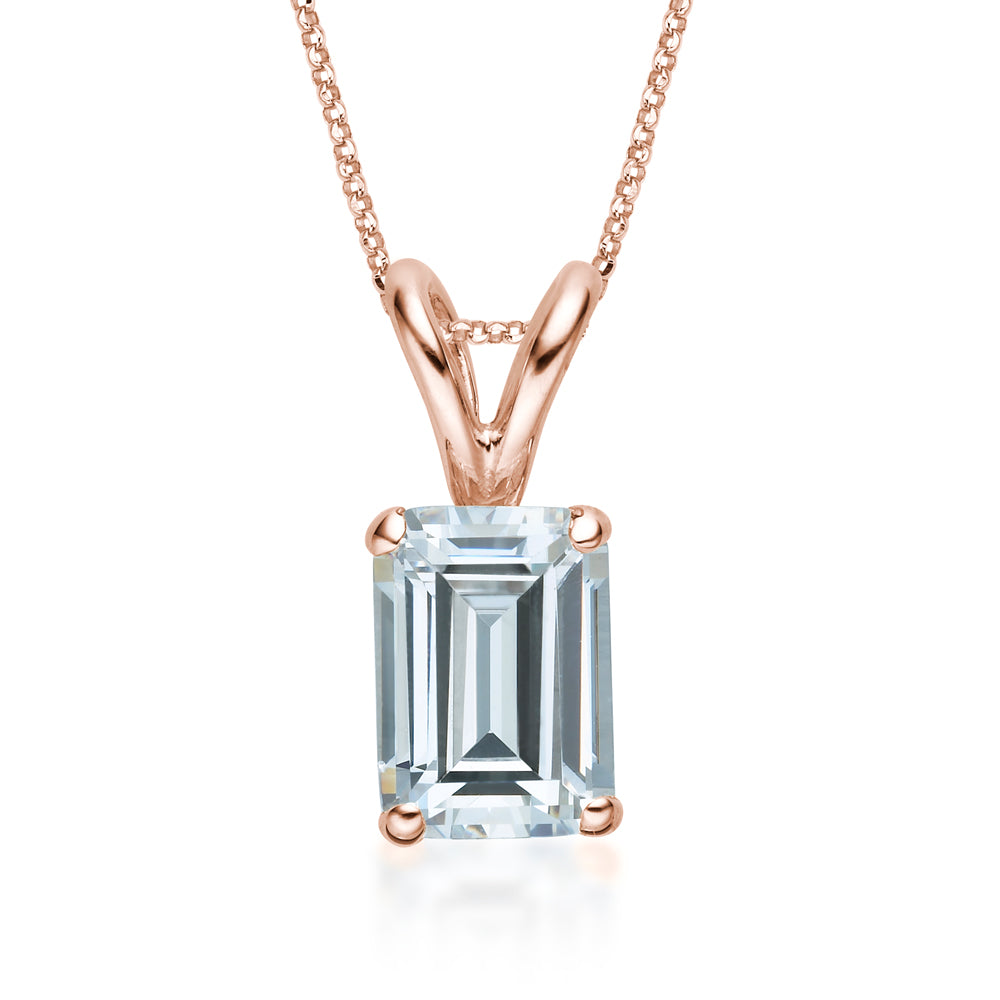 Emerald Solitaire Pendant in Rose Gold