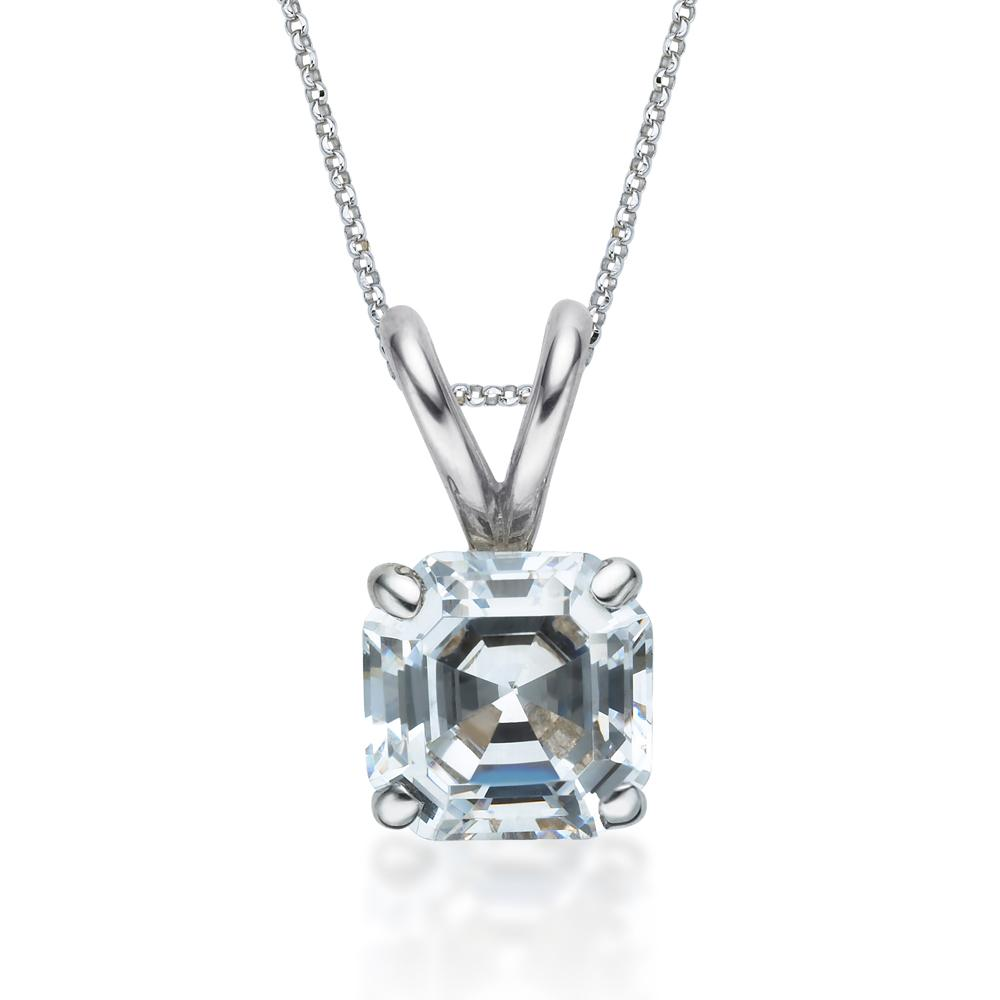 Asscher Solitaire Pendant in White Gold