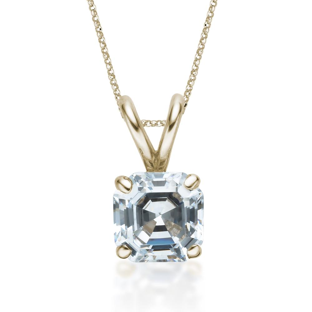 Asscher Solitaire Pendant in Yellow Gold