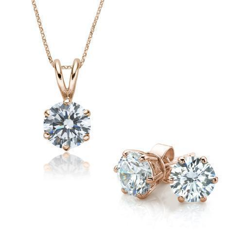 Round Brilliant 6 Claw Solitaire Gift Set in Rose Gold