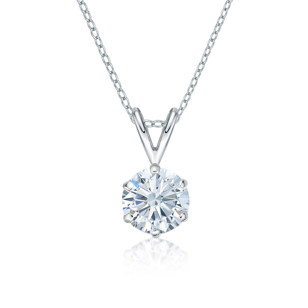 Round Brilliant 6 Claw Solitaire Pendant in White Gold