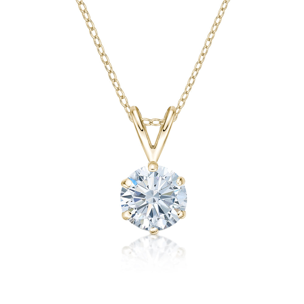 Round Brilliant 6 Claw Solitaire Pendant in Yellow Gold