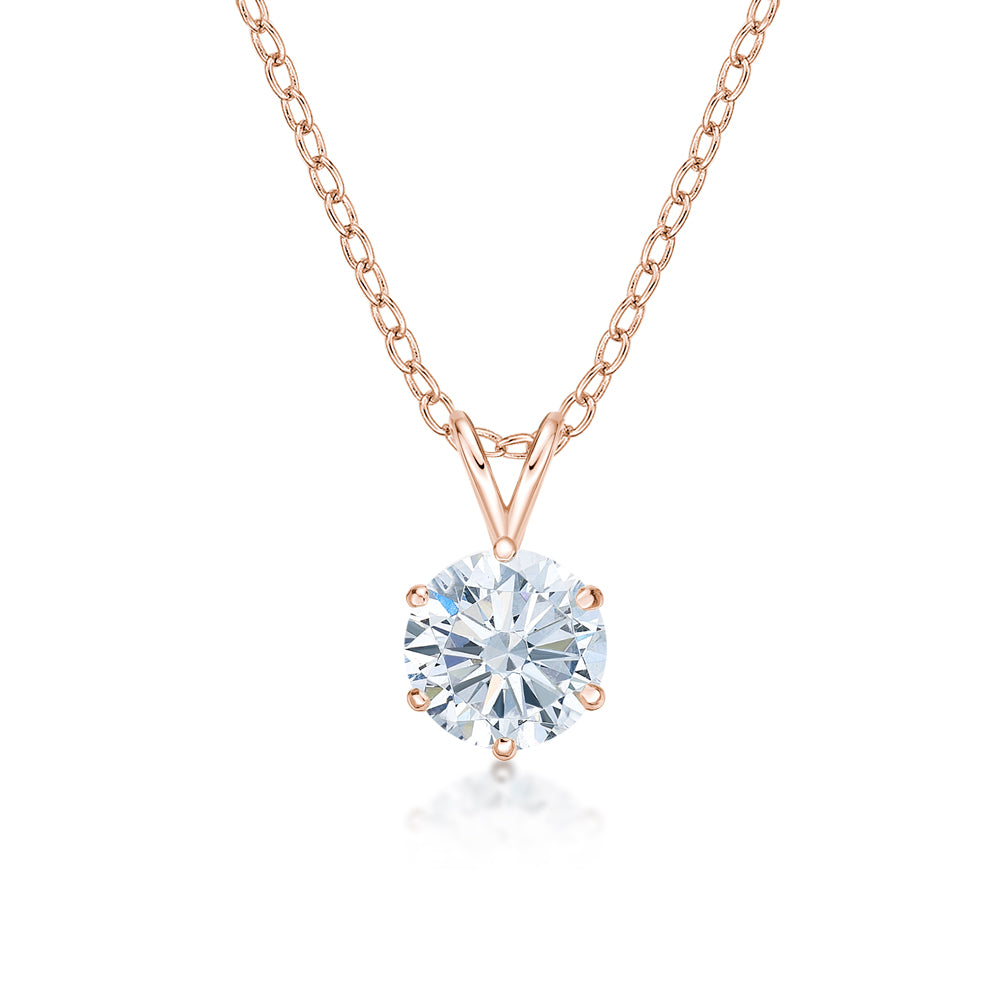 Round Brilliant 6 Claw Solitaire Pendant in Rose Gold