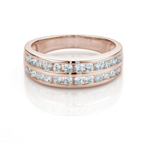 Double Row Round Channel Set Band in Rose Gold