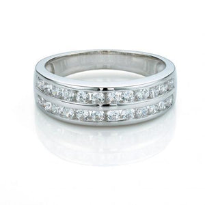 Double Row Round Channel Set Band in White Gold