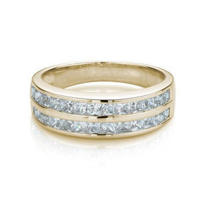 Double Row Princess Channel Set Band in Yellow Gold