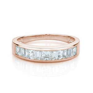 Princess and Baguette Cut Band in Rose Gold