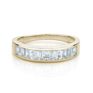 Princess and Baguette Cut Band in Yellow Gold
