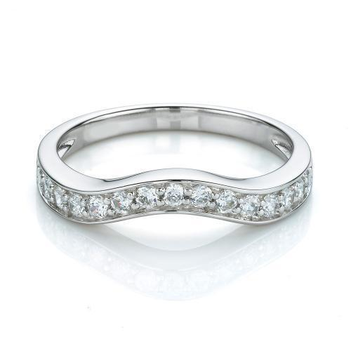 Grain Set Curved Wedding Band in White Gold