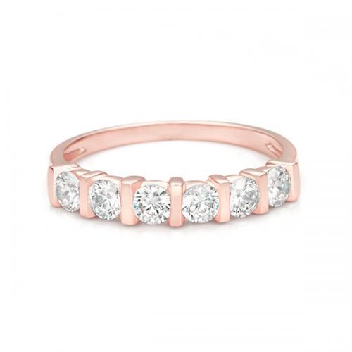 Round Brilliant End Set Eternity Band in Rose Gold