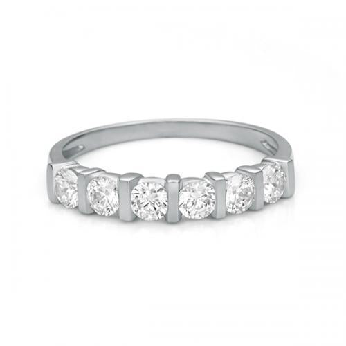 Round Brilliant End Set Eternity Band in White Gold