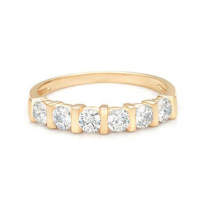 Round Brilliant End Set Eternity Band in Yellow Gold