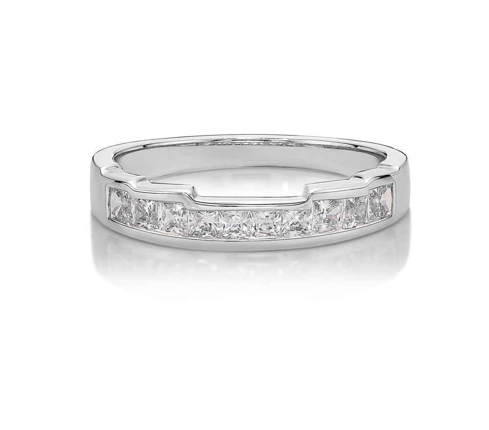 5 Step Cut-Out Band with Princess Cut Stones in White Gold