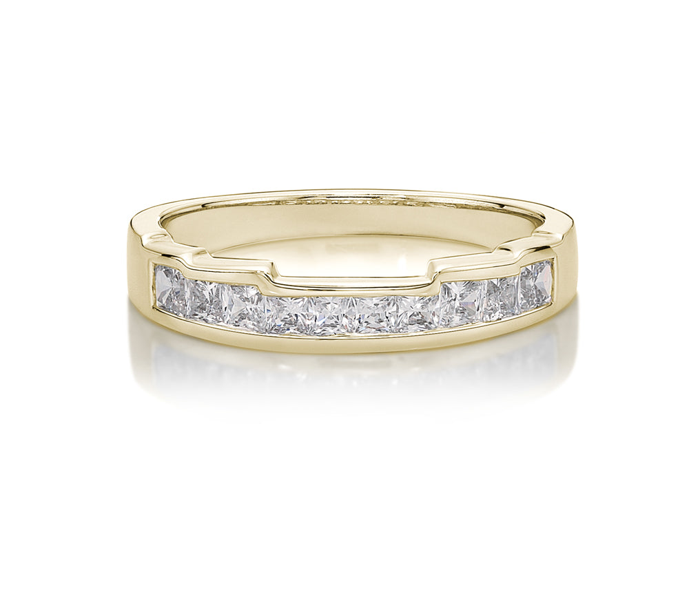 5 Step Cut-Out Band with Princess Cut Stones in Yellow Gold