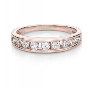 Round Brilliant Channel Set Wedding Band in Rose Gold