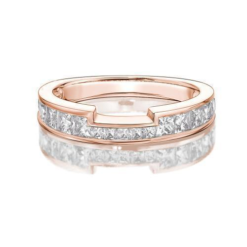 Princess Channel Set Cut Out Band in Rose Gold